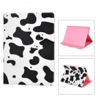 Milk Cow Skin Pattern Protective PU Leather + Plastic Case w/ Stand for IPAD AIR - White + Black