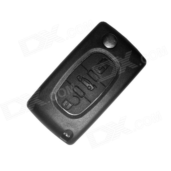 Eastor ER-048 Replacement 3-Button Folding Remote Control Key Case for Peugeot 408 - Black