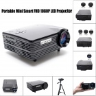 Geekwire LP-5B Portable FHD 1080P LED Projector w/ HDMI,VAG,USB 2.0, AV, SD - Piano Black (EU Plug)