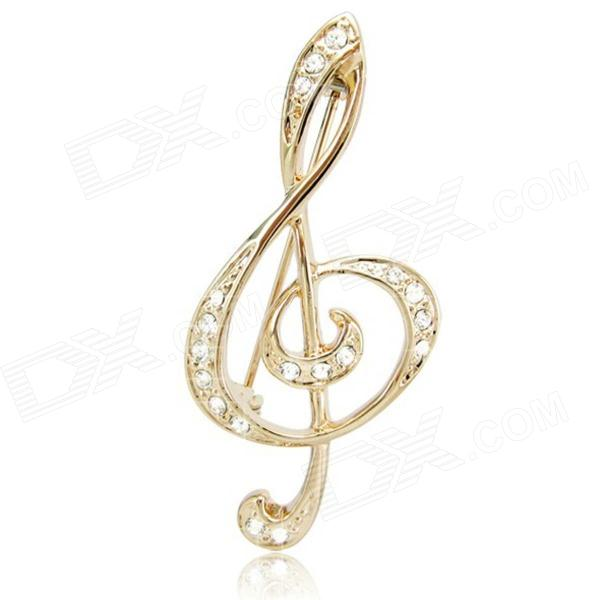 DEDO Music Gifts MG-37 Romantic Elegance Crystal Brooch High Notes Brooch - Gold