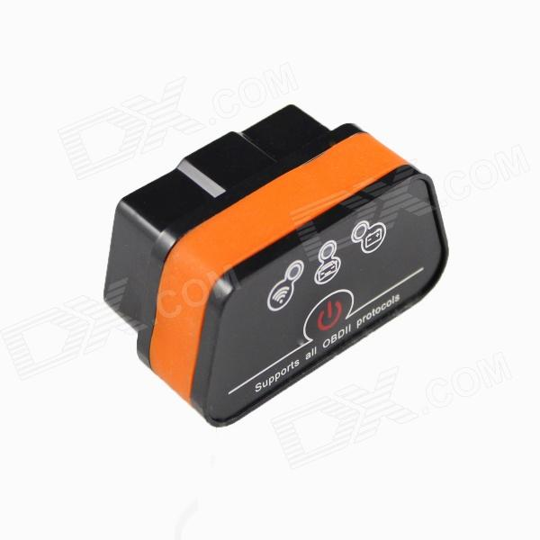 Vagte l Super Mini iCar2 Vehicle Wi-Fi OBD-II Code Diagnostic Tool / Clearer - White + OrangeCode Readers and Scan Tools<br>Form  ColorBlack+OrangeBrandVagte lModeliCar-Wi-Fi-BOQuantity1 DX.PCM.Model.AttributeModel.UnitMaterialPVCVersionV1.4bFunctionRead trouble codes,Check Engine Light (MIL),Clear trouble codes,Display current sensor data,Caculate fuel oil consumptionReadparam Coolant Temperature,Fuel System Status,Vehicle Speed,Short Term Fuel Trim,Long Term Fuel Trim,Air Flow RateWireless BluetoothNoDiagnose Interface16pinSupported LanguagesEnglishSmartphone Brand SupportedOthers,it supports all Wi-Fi system  (Android, PC, Win CE, IPHONE, IPAD)Application SupportedNotebook,SmartphoneSoftware Platform SupportedOthers,It supports all with Wi-Fi systemProtocols SupportedISO15765-4 (CAN),ISO14230-4 (KWP2000),ISO9141-2,J1850 VPW,J1850 PWMOutput ProtocolWi-FiIndicator LEDsOBD transmitBaud Rate38400 DX.PCM.Model.AttributeModel.UnitCompatible MakeOthers,Cars support protocolWorking Voltage   12 DX.PCM.Model.AttributeModel.UnitWorking Current250 DX.PCM.Model.AttributeModel.UnitPacking List1 x iCar2 OBD (Wi-Fi version)1 x CD1 x English user manual<br>