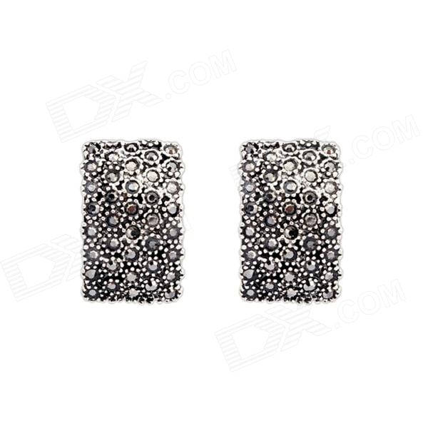 Moda Diamante Pendientes cuadrados - Plata Antique