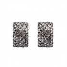 Fashionable Diamante Square Earrings - Antique Silver
