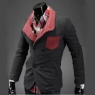 X12  Men's Knitted Material Cotton Color Matching Slim Fit Double-Breasted Suit - Gray (Size XXL)
