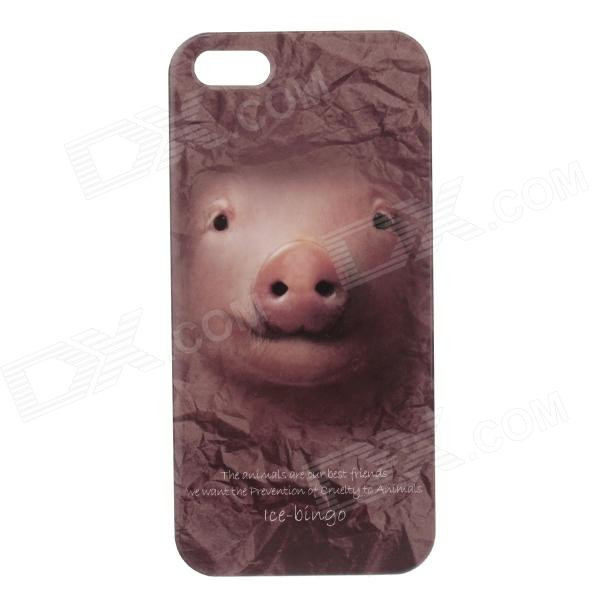 C100005 Animal Series Cute Pig Style Protective Plastic Back Case for IPHONE 5 / 5S - Brown protective heart shape rhinestone decoration back case for iphone 5 brown