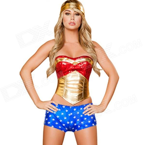 A200001 8735 Sexy 3 PCS Wonder Heroine Costume - Blue + Gold + Red