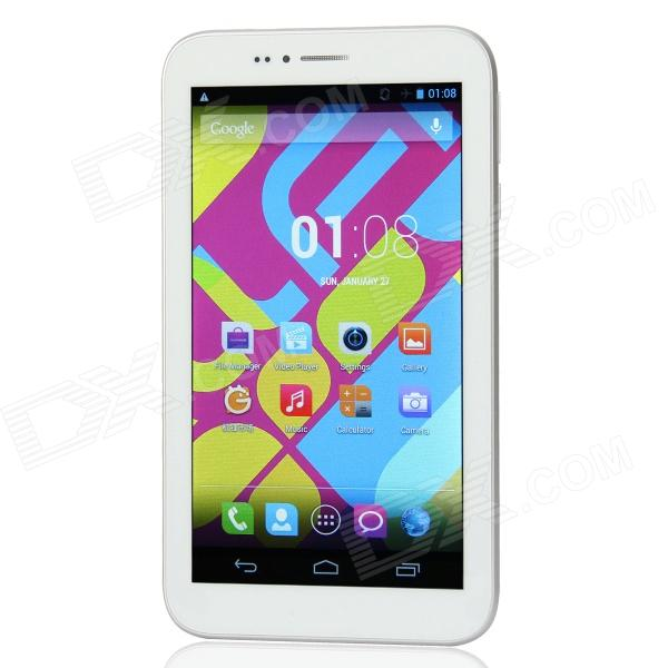 ALLFINE FINE7 Phone 7.0 Dual Core Phone Tablet PC w/ 512MB RAM / 4GB ROM / Bluetooth / Dual SIM - DXTablets<br>Color White Brand ALLFINE Model FINE7 Phone Quantity 1 Piece Shade Of Color White Material Plastic Processor Brand Mediatek Processor Model OthersMTK6572 ARM Cortex A7 Processor Speed 1.2 GHz Number of Cores Dual Core Operating System Android 4.2 GPU Mali-400 MP RAM/Memory Type DDR2 SDRAM Built-in Memory 512MB Capacity 4GB Screen Size 7.0 Inch Screen Type TFT Touch Type Capacitive screen Resolution 1024 x 600 Touch Point 5-point Capacitive Touch Screen 3G Type WCDMAOthersGSM 3G Frequency Range 2100 3G Function 3G Phone callSurf the InternetYes 2G Yes 2G Frequency Range 850/900/1800/1900MHz GPS Yes RJ45 No Supported Network WifiBuilt-in 3G2G Phone CallBluetoothGPS Wi-Fi Standard IEEE 802.11 b/g/n Gravity Sensor Yes Bluetooth Version V2.0 Audio Output 3.5mm Speaker 1 Interface 1 x 3.5mm1 x micro USBOthers1 x TF2 x SIM card slot HDMI No USB Charge Yes Google Play(Android Market) Yes Camera 2 x Camera Front Camera Pixels 300K Pixels Back Camera Pixels 2M Pixels Photoflash Lamp No Storage Interface TF Button SoundPower Images BMPGIFJPEGJPGPNG E-book PDFTXT Video Formats OthersAVI(H.264)/ DIVX / DIVX / XVID / rm / rmvb / MKV(H.264 / DIVX / DIVX / XVID)/ WMV / MOV / MP4(H.264 / MPEG / DIVX / XVID)/ MPEG / MPG / FLV(H.263 / H.264) External Memory Max. Support 32 GB Plug Specifications OthersUSB2.0 Tip Diameter Othersmicro USB2.0 Supported Languages OthersBahasa Indonesia Malay Catalan German English Spanish Filipino French Italian Hungarian Dutch Portuguese Romanian Vietnamese Turkish Greek Russian Hebrew Arabic Iranian Thai Korean Japanese Simplified Chinese Traditional Chinese Battery Capacity 2700 mAh Battery Type Li-polymer battery Working Time 3 Hour Standby Time 80 Hour Charging Time 3 Hour Packing List 1 x Tablet PC 1 x USB cable (80cm) 1 x English user manual<br>
