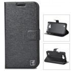 FlowerShow Protective PU Leather + Plastic Case w/ Card Holder Slots for Samsung i9260 - Black