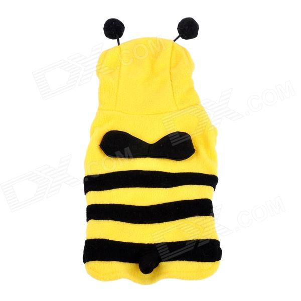 JUQI Cute Bee Style Fleeces Coat for Pet Cat / Dog - Black + Yellow (S)