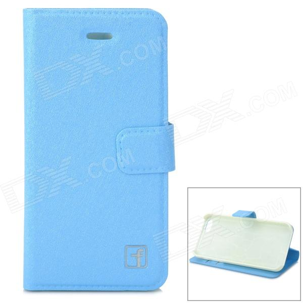 Flower Show protection PU + PC Case w / support / Card Slot pour IPHONE 5 / 5S - Bleu