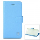 Flower Show Protective PU + PC Case w/ Holder / Card Slot for IPHONE 5 / 5S - Blue