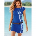 Fashion Cotton Beach Swimsuit Dress w/ Waist Belt - Blue + White (Size L)