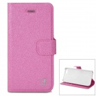 Flower Show Protective PU + PC Case w/ Holder / Card Slot for IPHONE 5 / 5S - Dark Pink