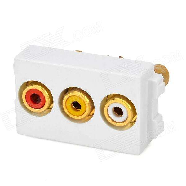 RCA de audio y vídeo de montaje en pared Socket - blanco + oro