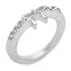 Bowknot Style Diamond Zinc Alloy Finger Ring for Women - Silver