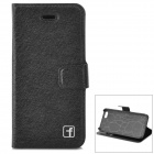 Flower Show Protective PU + PC Case w/ Holder / Card Slot for IPHONE 5 / 5S - Black