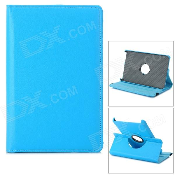 Lychee Pattern Protective 360 Degree Rotation PU Leather Case for Amazon Kindle Fire 7 - Sky Blue for 2017 new kindle fire 7 armor shockproof hybrid heavy duty protective stand cover case for amazon kindle fire 7 2017