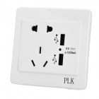 AC Power Socket + Dual-USB Socket Wall Panel - White + Black (US & AU Plug)