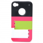 Multifunctional Joint-color Plastic Back Case w/ Holder for IPHONE 4 / 4S - Black + Dark Pink