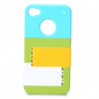 Multifunctional Joint-color Plastic Back Case w/ Holder for IPHONE 4 / 4S - Green + Blue