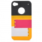 Buy Stylish Protective Plastic Back Case Stand IPHONE 4 / 4S - Black + Yellow Deep Pink
