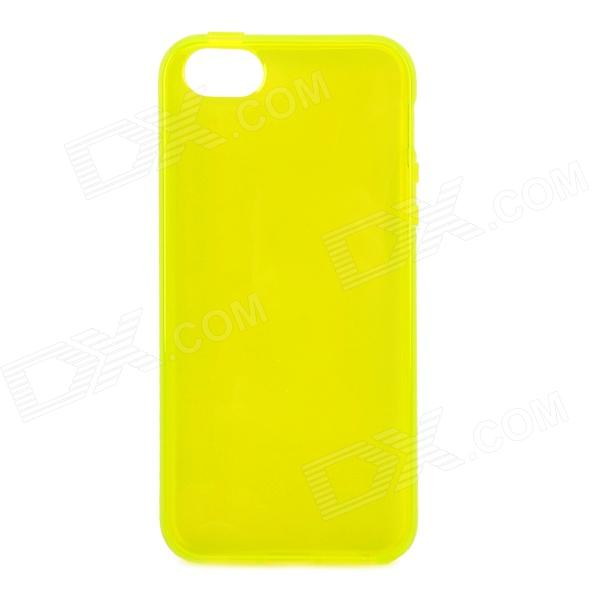 S-What Protective TPU Back Case for IPHONE 5 / 5S - Transparent + Yellow holes pattern protective tpu back case for iphone 6 plus 5 5 yellow