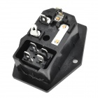 HongYang A-001 3-Flat-Pin Plug AC 250V Socket Power Switch w/ Fuse - Black + Silver