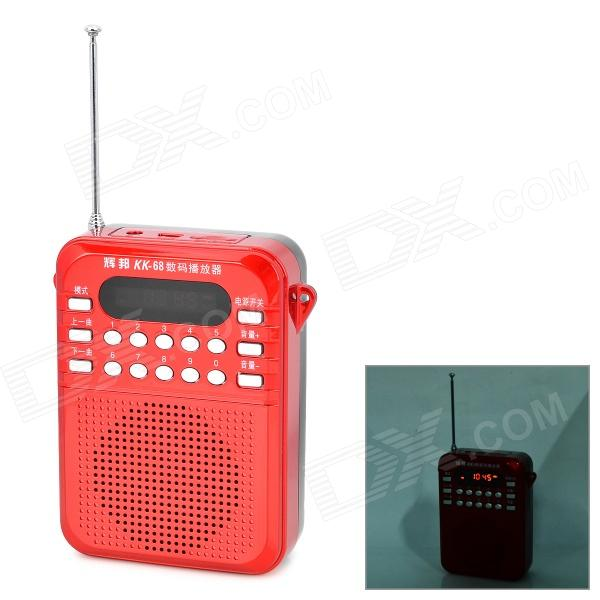 HABONG KK68D5536 Portable LED Screen Media Play Speaker w/ TF / FM - Black + Red