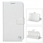 FlowerShow Protective PU Leather Case w/ Card Holder Slots for Samsung i9260 - White