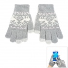 Three-Finger Touch Screen Woolen Gloves for IPHONE / IPAD + More - Grey (Pair)