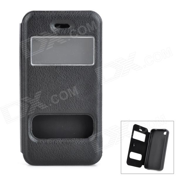 Protective PU + Silicone Flip-Open Case for IPHONE 4 / 4S - Black protective pu leather flip open case for iphone 4 4s black