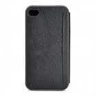 Protective PU + Silicone Flip-Open Case for IPHONE 4 / 4S - Black