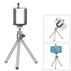 Universal Adjustable Tripod Stand Holder for Cell Phones - Silver + Black