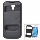 Protective PU Leather + Silicone Case w/ Display Window for Samsung Galaxy S4 i9500 - Black