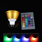 MR16 3W 200lm LED RGB Spotlight w/ Remote Controller - Golden (12V)