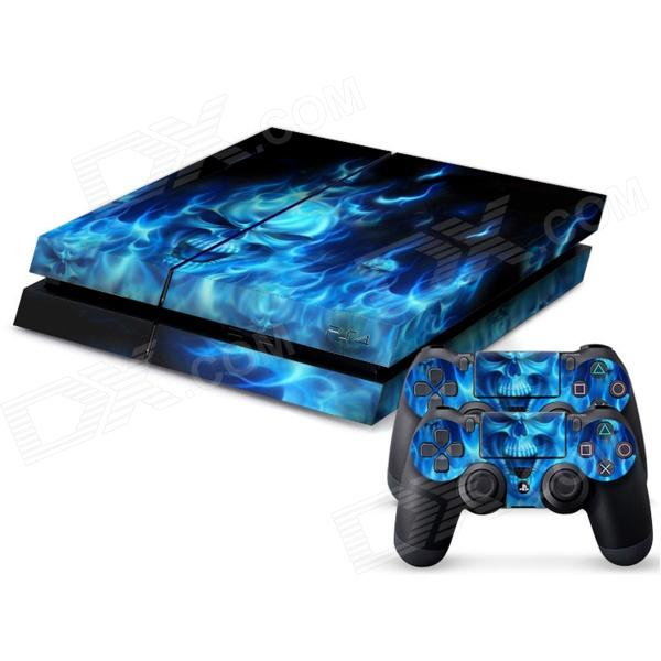 Pacers F100001 Blue Flame Skull Pattern Dustproof Waterproof Protective Skin for PS4 Controller