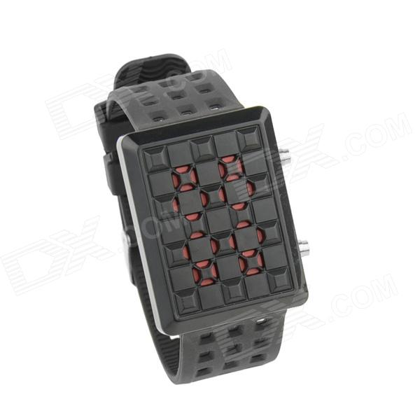 Cool firesifrede rød LED Digital Watch - svart