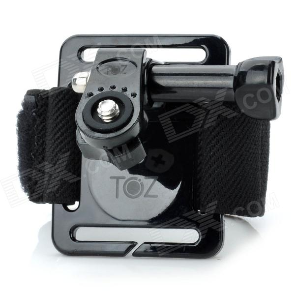 TOZ TZ122 Elastic Velcro Wrist Mount for Gopro Hero 4/ 3+ / 3 / 2 / 1 + Universal Cameras - Black pannovo waterproof pu leather extra thick anti shock eva case for gopro hero 4 3 3 2 sj4000