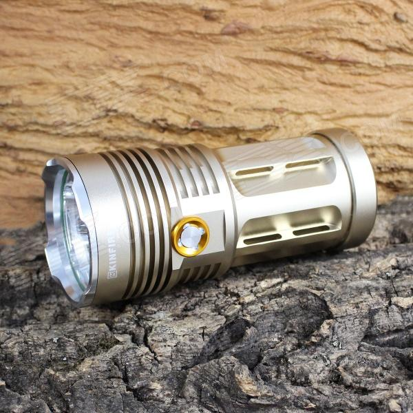 KINFIRE 6-LED 3000lm 3-Mode White Flashlight - Golden (4 x 18650) kinfire k40x 4 led 2000lm 3 mode white flashlight gray 4 x 18650