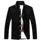 Fashion And Personality Cardigan Fleece Coat - Black (XL)