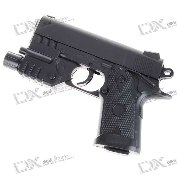 Mini 6mm Pistol Spring-load BB Gun Toy with Laser Sight and Blue Light Flashlight