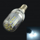 HZLED E14 4W 324lm 6000K 27 x SMD 2835 LED White Light Lamp Bulb - White + Silver (AC 85~265V)