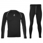 ARSUXEO Long Sleeves Sports Cycling Quick-dry Warm Suit Jersey + Pants Set - Black Grey (L)