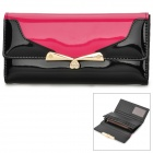 Long Shaped PU Leather Wallet for Women - Black + Deep Pink