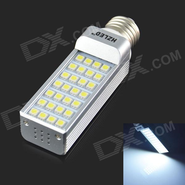 HZLED E27 6W 450lm 6000K 28 x SMD 5050 LED White Light Lamp Bulb - White + Silver (AC 85~265V) r7s 15w 5050 smd led white light spotlight project lamp ac 85 265v