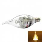 exLED E14 3W 210lm 3500K 3-LED Warm White Light Candle Lamp Bulb - Silver (220V)