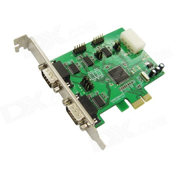 цена на IOCREST IO-PCE384-4S WCH384 Chipset 4 DB-9 (RS-232) Ports to PCI Express Controller Card - Green