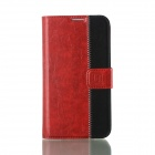 Flower Show Protective PU Leather Case Cover Stand w/ Card slot for Samsung Galaxy S4 i9500 - Red
