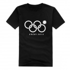 Fashionable Funny Olympic Rings Pattern Cotton T-shirt - Black (L)