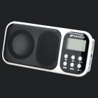 1.2'' LCD Portable Media Player Speaker w/ FM / TF / U Disk - White + Black + Multi-Colored
